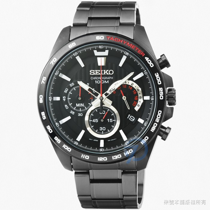 【SEIKO】精工大錶徑三眼計時錶-IP黑色 / SSB311P1