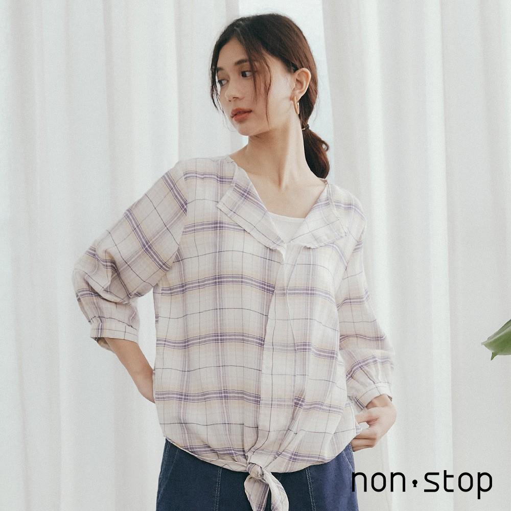 non-stop 清新格紋開領綁帶七分袖襯衫(2色/F)