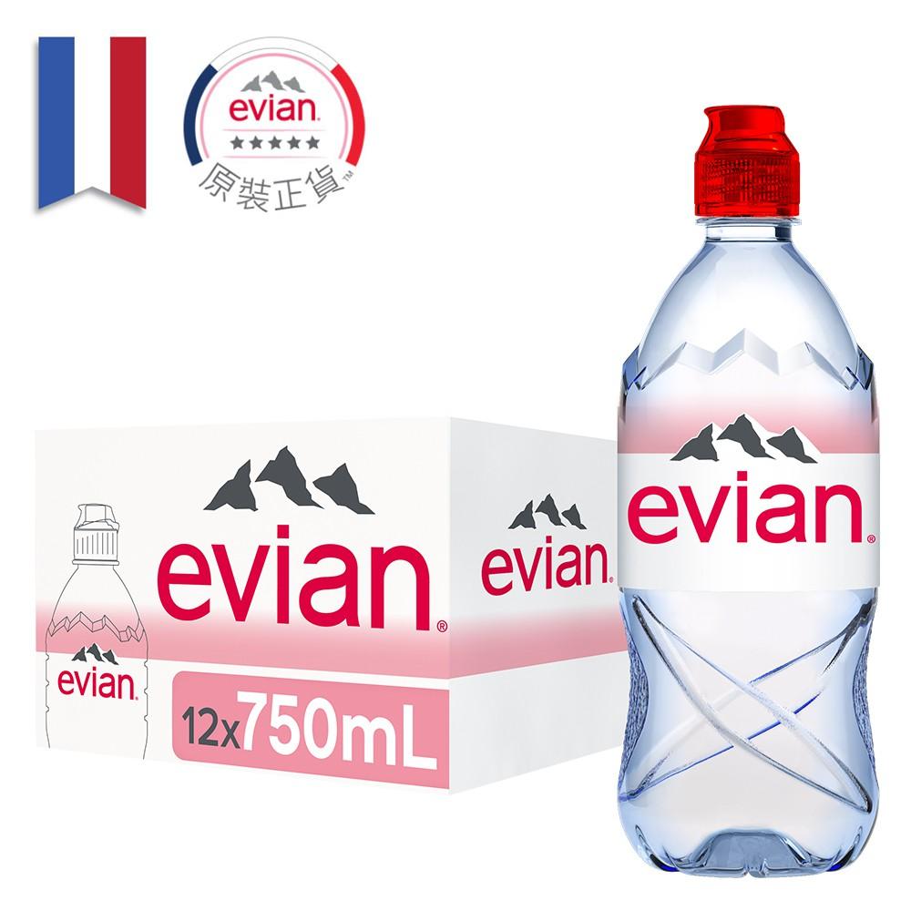 法國evian依雲天然礦泉水(750mlx12入 運動寶特瓶)【台灣官方Evian】