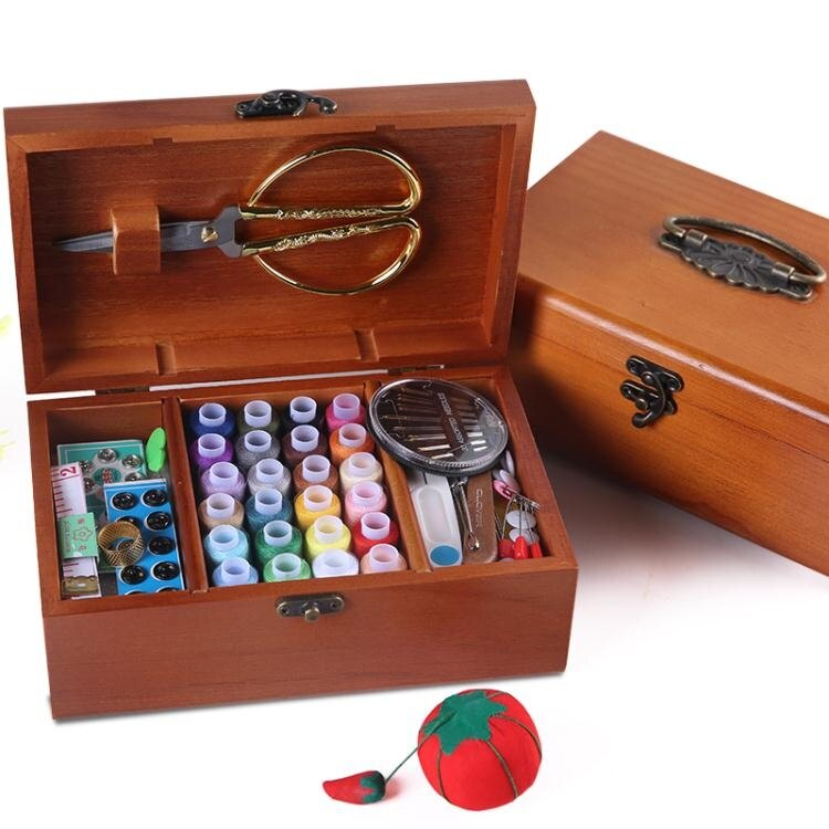 限時下殺-針線盒套裝針線包家用復古縫紉線針線收納盒十字繡工具實木結婚款 全館免運