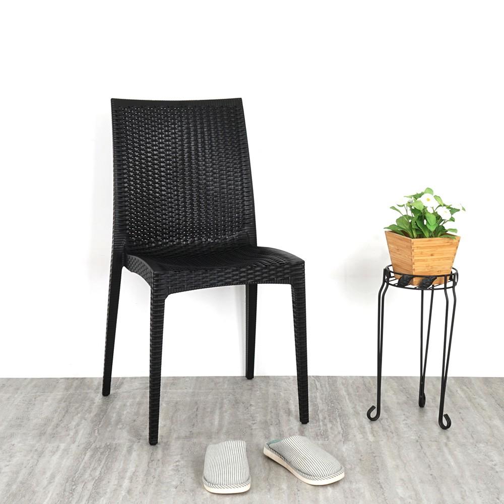 YoStyle 布倫丹仿藤造型餐椅(經典黑) 餐椅 休閒椅 會議椅 咖啡椅 椅子