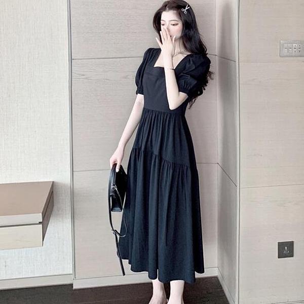 洋裝 連身裙 中大尺碼 L-4XL新款大碼寬鬆顯瘦露背方領連衣裙仙氣減齡 R032-3882.胖胖唯依