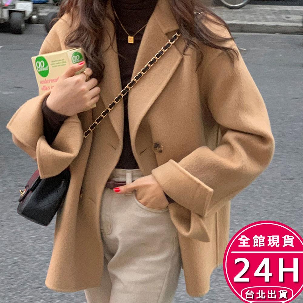梨卡-秋冬季新款韓版寬鬆中長款西裝領毛呢大衣外套-羊毛呢大衣西裝領外套FR048【現貨24H】