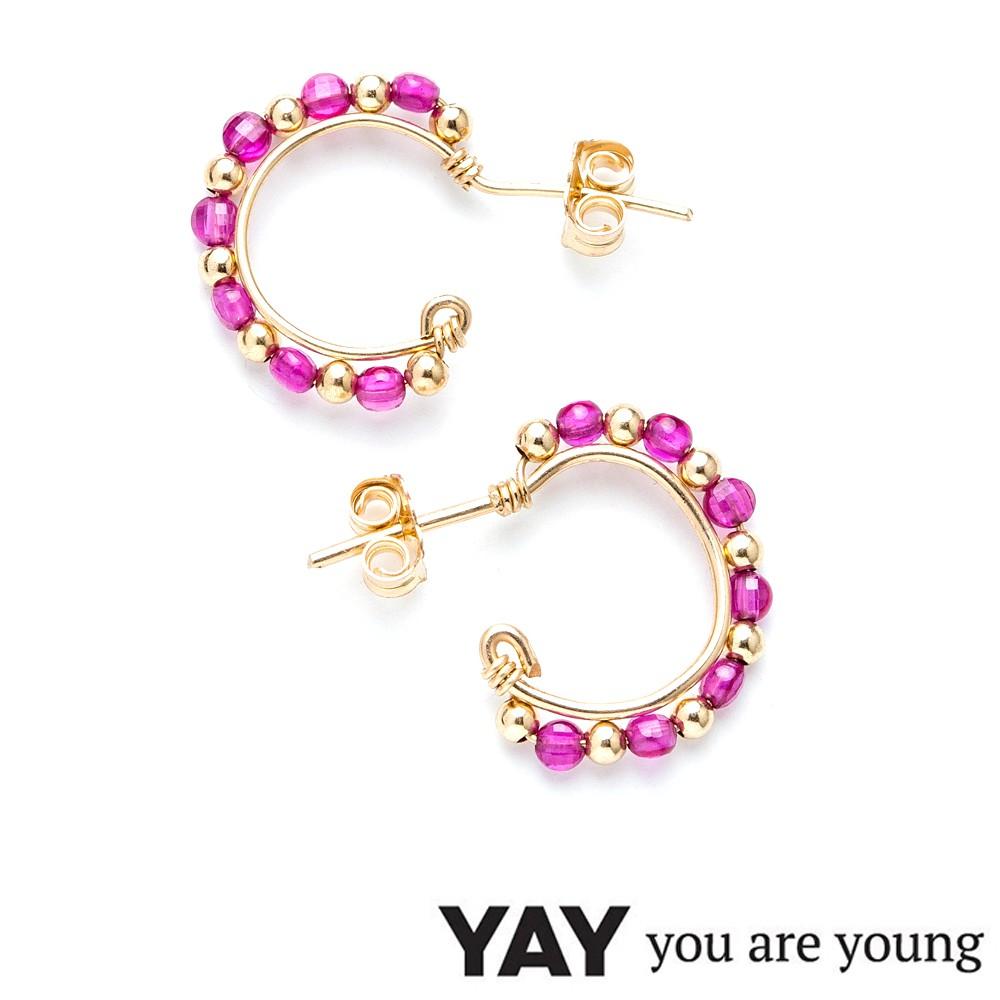 YAY You Are Young 法國品牌 彩鑽經典小圓耳環 桃紅寶石X星辰豆豆