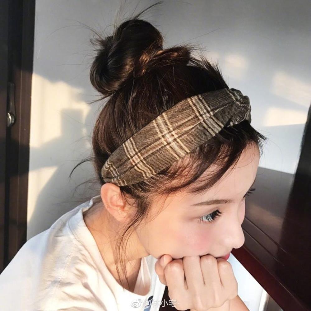 【25300】英倫學院風格子條紋髮帶簡約頭飾