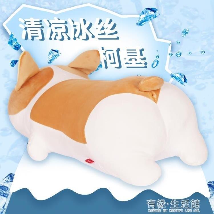 柯基玩偶屁股涼感抱枕女生睡覺公仔娃娃可愛插手柴犬周邊毛絨玩具