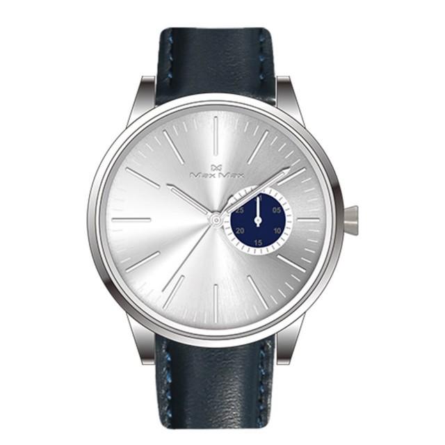 Max Max 曲面水晶日期顯示風格腕錶-藍銀色36MM(MAS7035-M2)【ERICA STORE】