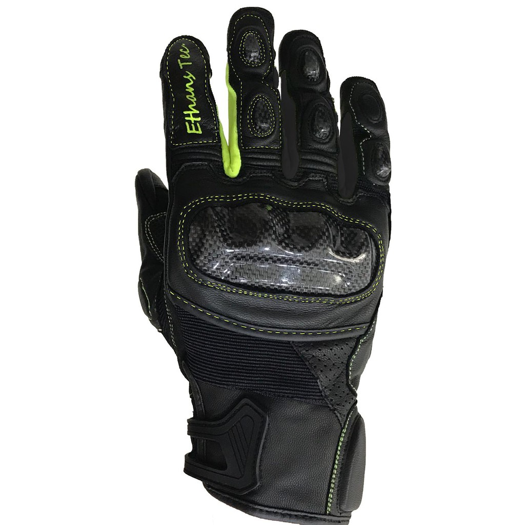 Ethans ES551 黑螢光黃 觸控螢幕 真皮防摔手套 超強止滑 碳纖維防護 澳洲小羊皮 腕骨軟墊防護《淘帽屋》