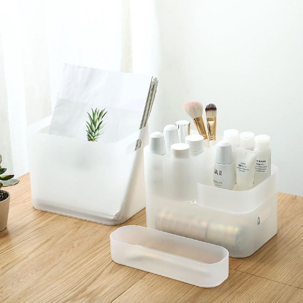 【買十送一】居家家透明化妝品收納盒桌面化妝刷桶護膚品口紅整理盒面膜儲物盒