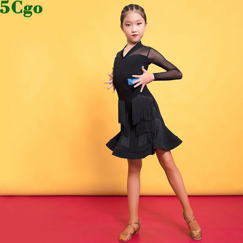 5Cgo【鴿樓】含稅可定制女童專業拉丁舞服表演比賽連衣裙短款網布短袖輕薄透氣恰恰舞裙 t587358162245