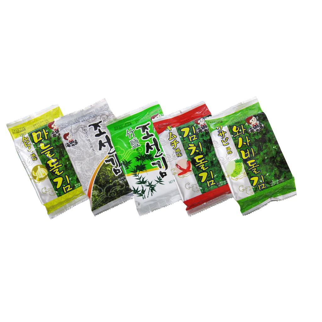 【韓味不二】海樂多 美味海苔 / 每袋 5g x 12入 (原味/竹鹽/辣味/蒜味/芥末)