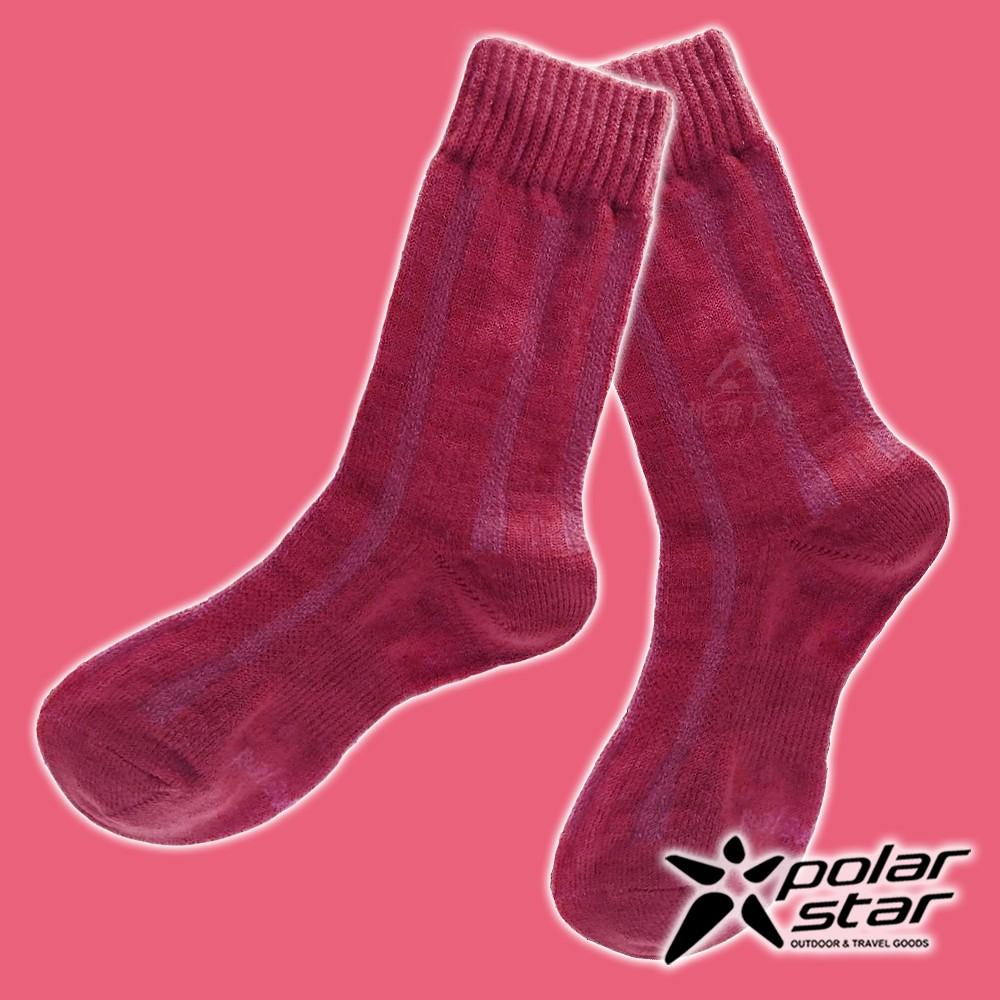【PolarStar】女 羊毛保暖襪『酒紅』P18610