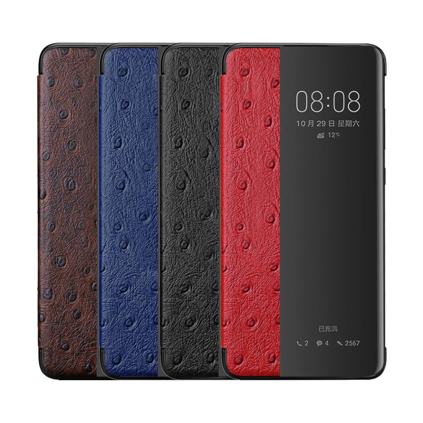 Huawei P30 Pro P20 Pro Mate 20 10 Pro真皮保護套真皮鴕鳥紋智能皮套來電顯示視窗保護套