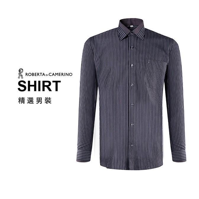 ROBERTA諾貝達 進口素材 台灣製 嚴選穿搭 品味條紋長袖襯衫  黑色