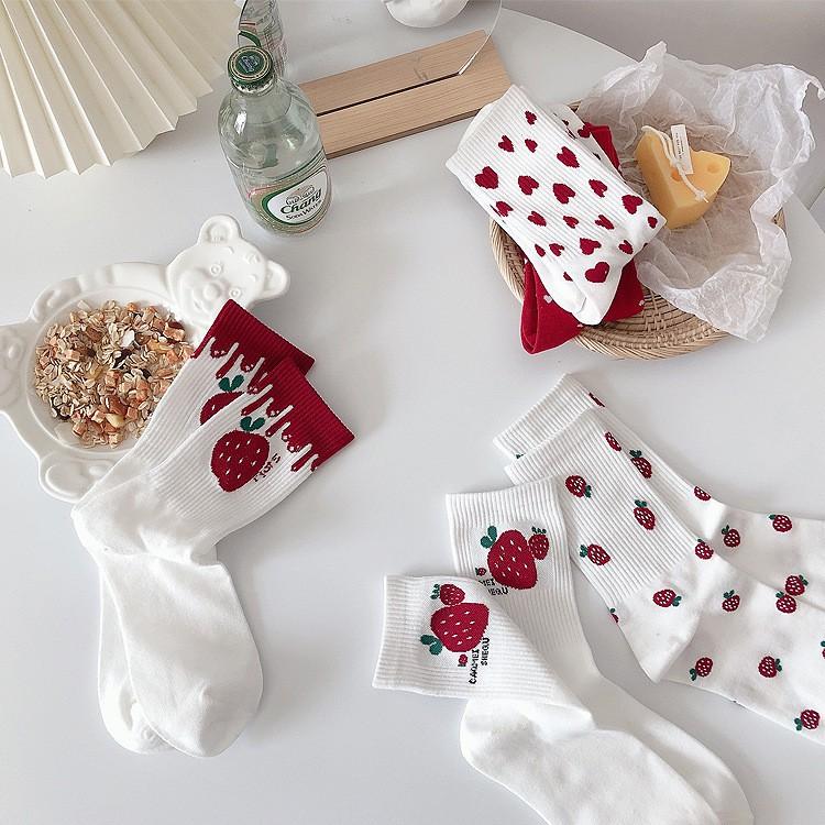 大唐襪業 D438新品女襪日系草莓Lolita可愛清新中筒襪提花透氣棉襪學生襪女