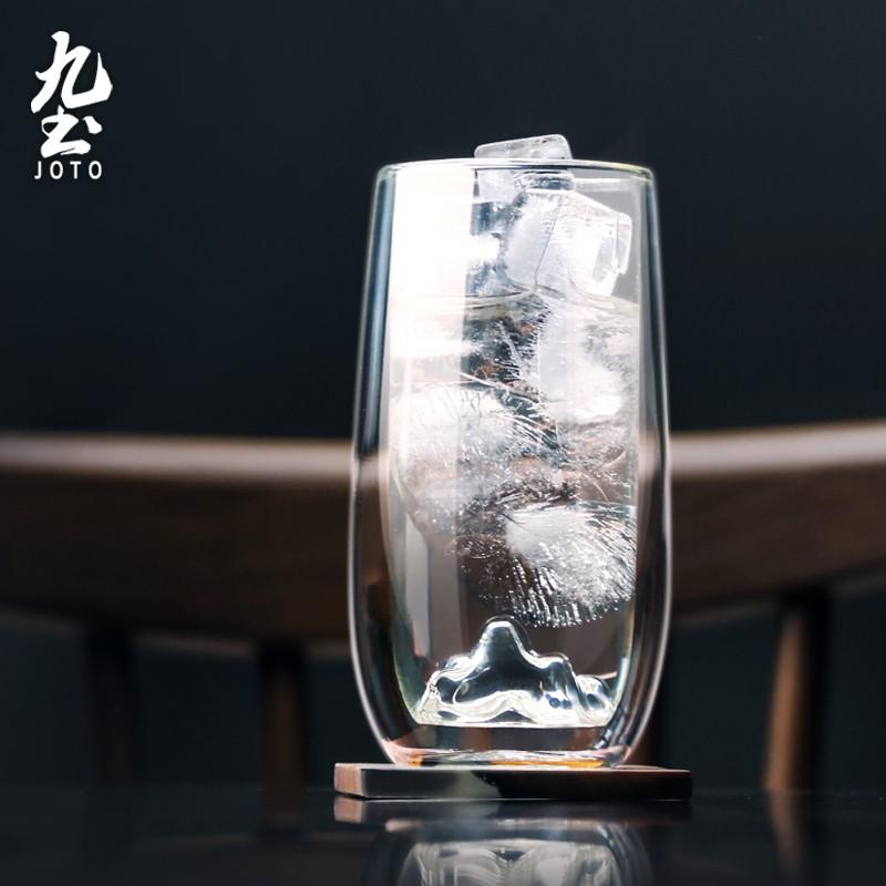 【九土JOTO】簡約雙層玻璃假山冷飲杯雙層玻璃杯耐熱冷飲水杯調酒雞尾酒泡茶杯冰咖啡杯家用日式啤酒杯