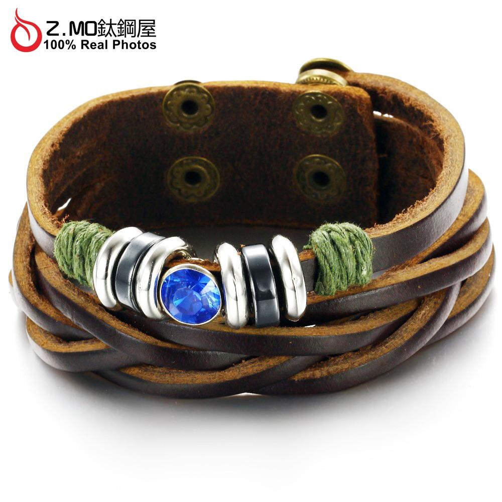 中性手鍊 Z.MO鈦鋼屋 藍寶石設計 串珠造型 皮手環 皮革手鍊 皮手鐲 編織皮繩 民俗風格 印地安風格【CKL778】