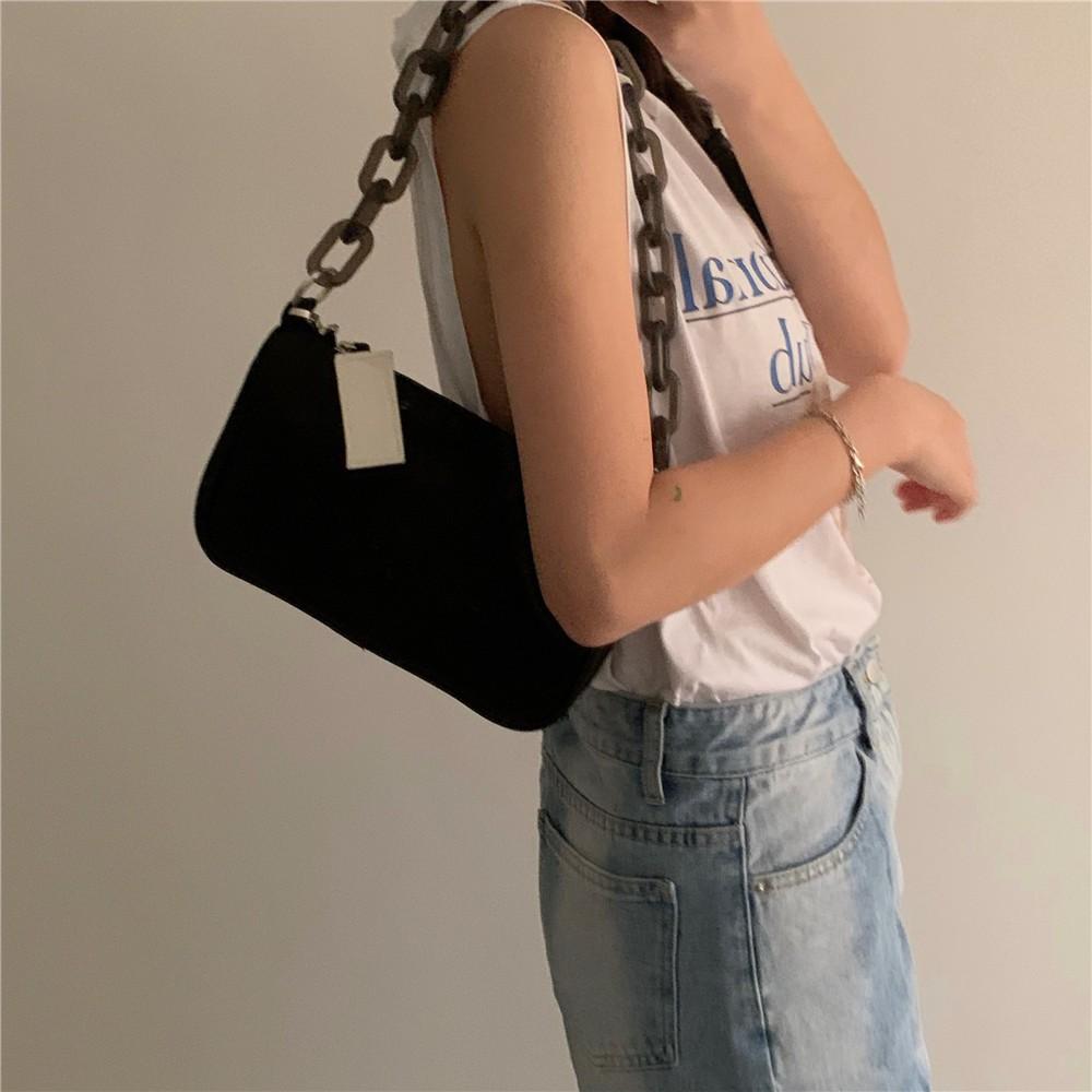 韓國亞克力鏈條挎包 單肩包 斜挎包 女生包包 側背包 暗黑系鏈條包 法式復古單肩包 法棍包 正韓挎包