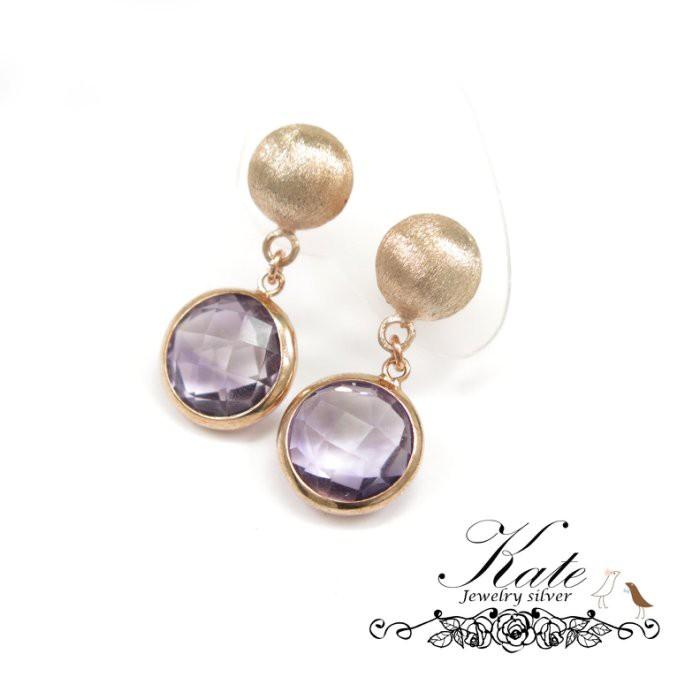 銀飾純銀耳環 天然紫水晶 玫瑰金 霧銀髮絲 摩登優雅 925純銀寶石耳環 KATE 銀飾