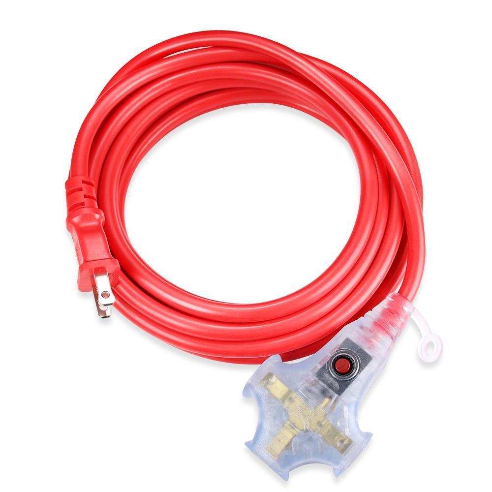 群加 Powersync 2P工業用1對3插帶燈動力延長線動力線5M~15M紅色(3W2050)