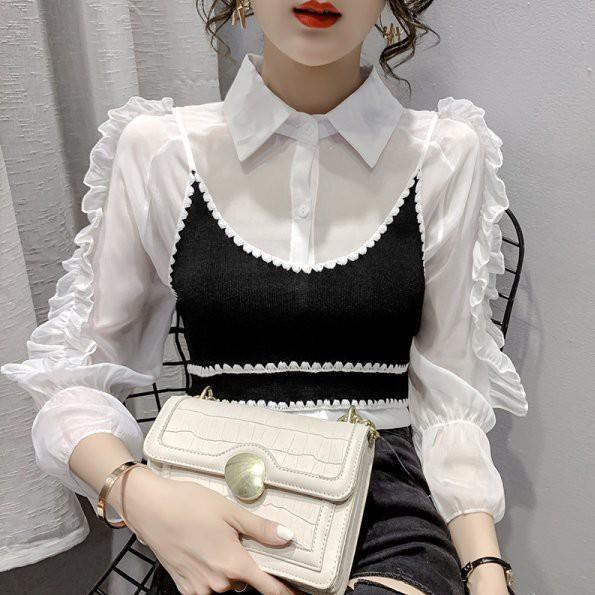上衣 襯衫 襯衣S-XL淑女韓系小吊帶兩件套雪紡衫優雅九分袖純色防曬 .T327.510愛尚依人