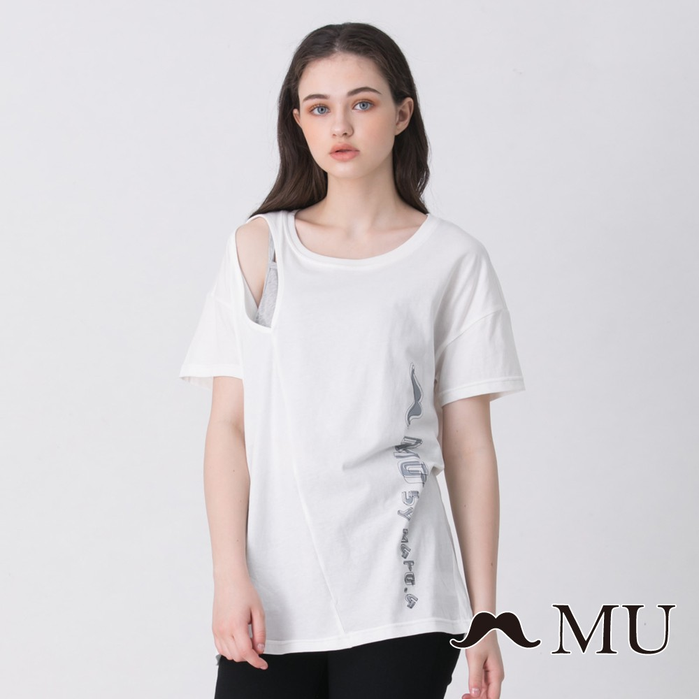 MU (03)設計感剪裁挖肩假兩件式上衣(白色)