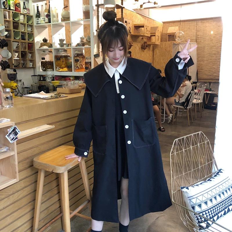M-4XL大尺碼衣著 女裝胖MM秋新款藏肉復古合身黑色風衣200斤可穿外套