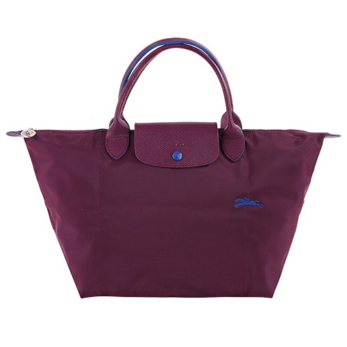 LONGCHAMP-短提把手提包(梅紅x藍/M)