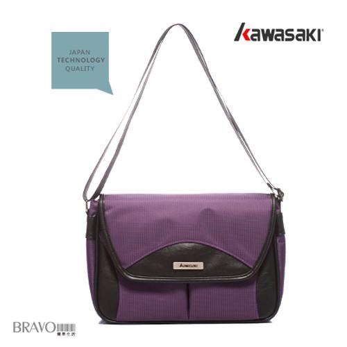 KAWASAKI 異材質設計MIT多隔層時尚平板包_紫