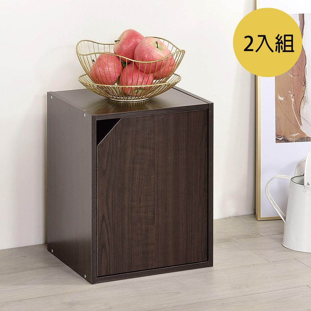 TZUMii簡約加高單門櫃-2入 胡桃木色