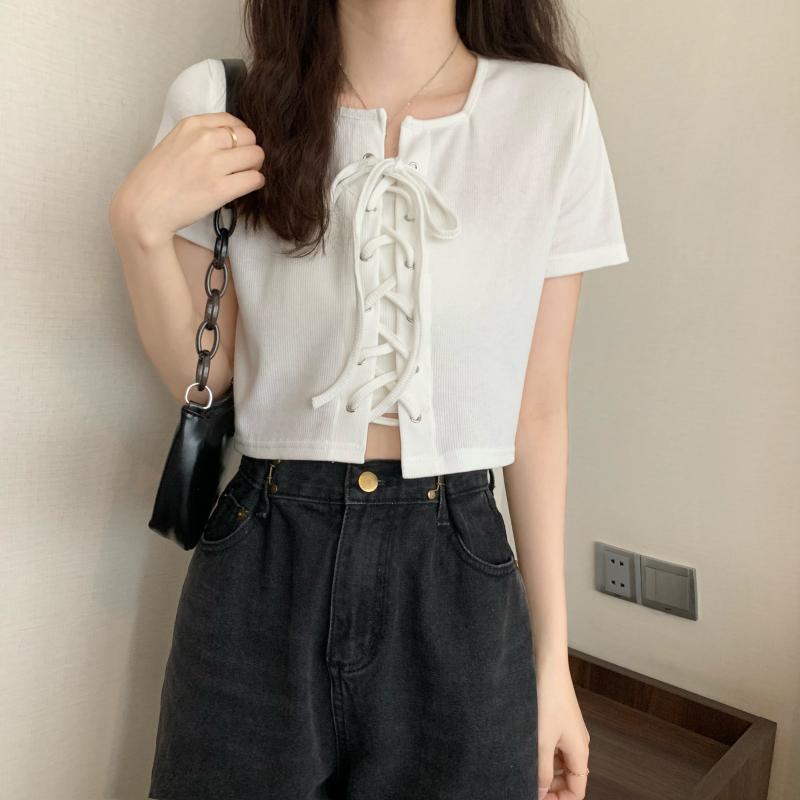 白色減齡短袖t恤夏季韓版新款法式綁帶修身短款上衣