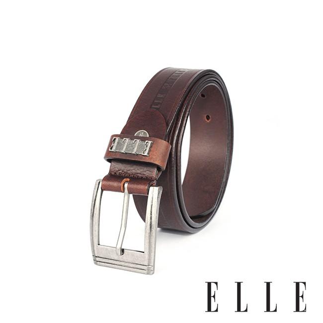 背包族【ELLE HOMME】品牌休閒皮帶-帶身LOGO(3色)