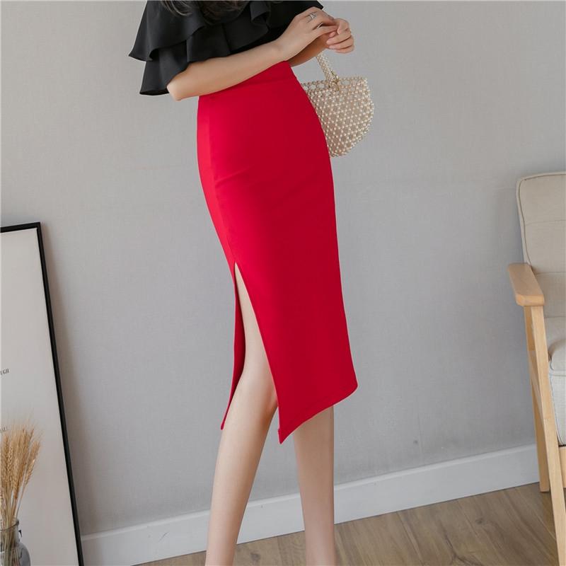 側開叉職業半身裙合身過膝窄裙包臀裙上班族女生穿搭