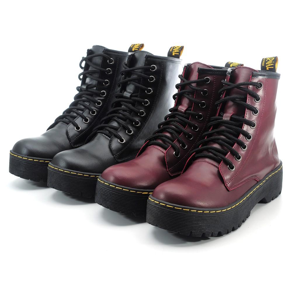【101玩shoes】MIT 個性馬丁中筒低跟馬靴女鞋低跟包鞋-黑色/酒紅 36-40碼