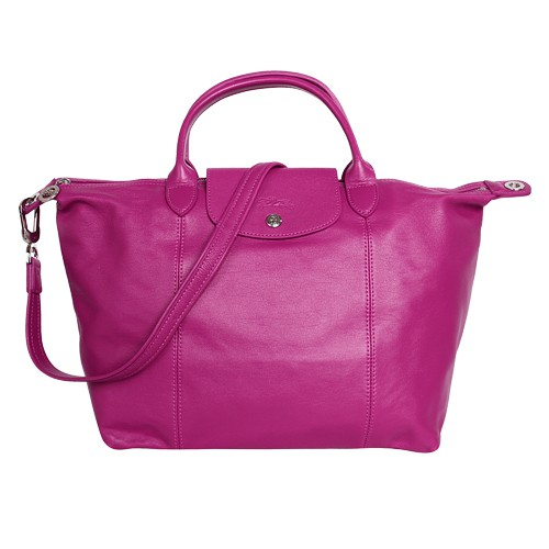 LONGCHAMP-小羊皮短把摺疊包/仙客來紫紅(附背帶)M