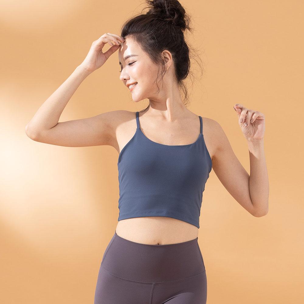 低強度長版背心運動內衣-魅灰藍