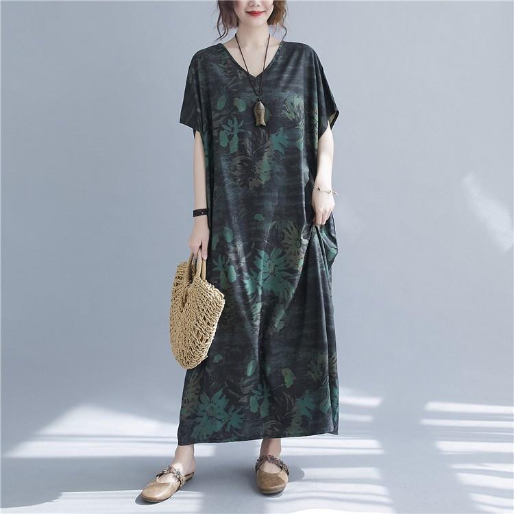 棉麻洋裝寬裙1322 V領度假復古綠花大長裙短袖長袍子N601-C.衣時尚