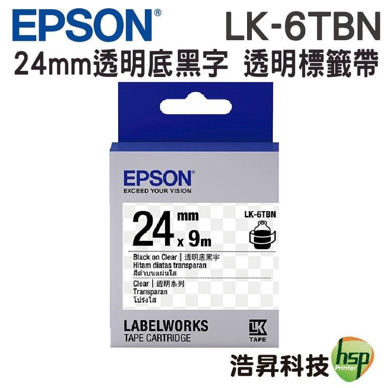 EPSON LK-6TBN 24mm 透明系列 原廠標籤帶 透明底黑字