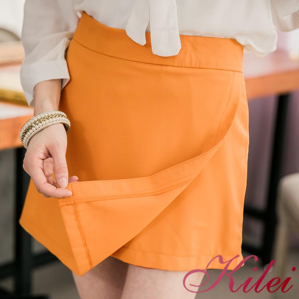 Kilei 前接片類短裙短褲XA2789(亮眼黃)大尺碼 廠商直送 現貨