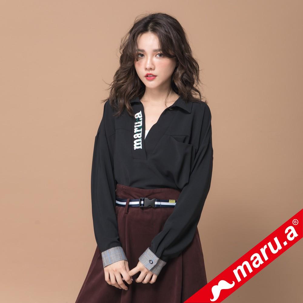 maru.a (89)袖口格紋裝飾maru.a印花V領上衣(黑色)