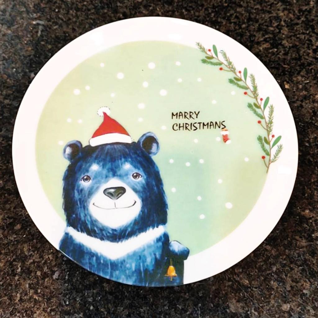 聖誕動物骨瓷盤 黑熊送禮 聖誕交換禮物 聖誕包裝