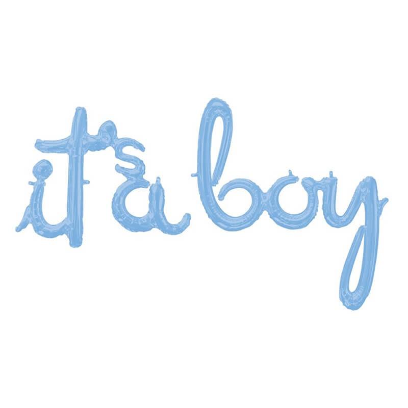 派對城 現貨【68 x 22cm藍色字母鋁箔氣球(不含氣)-It's a Boy】派對 鋁箔氣球 字串 佈置 拍攝道具