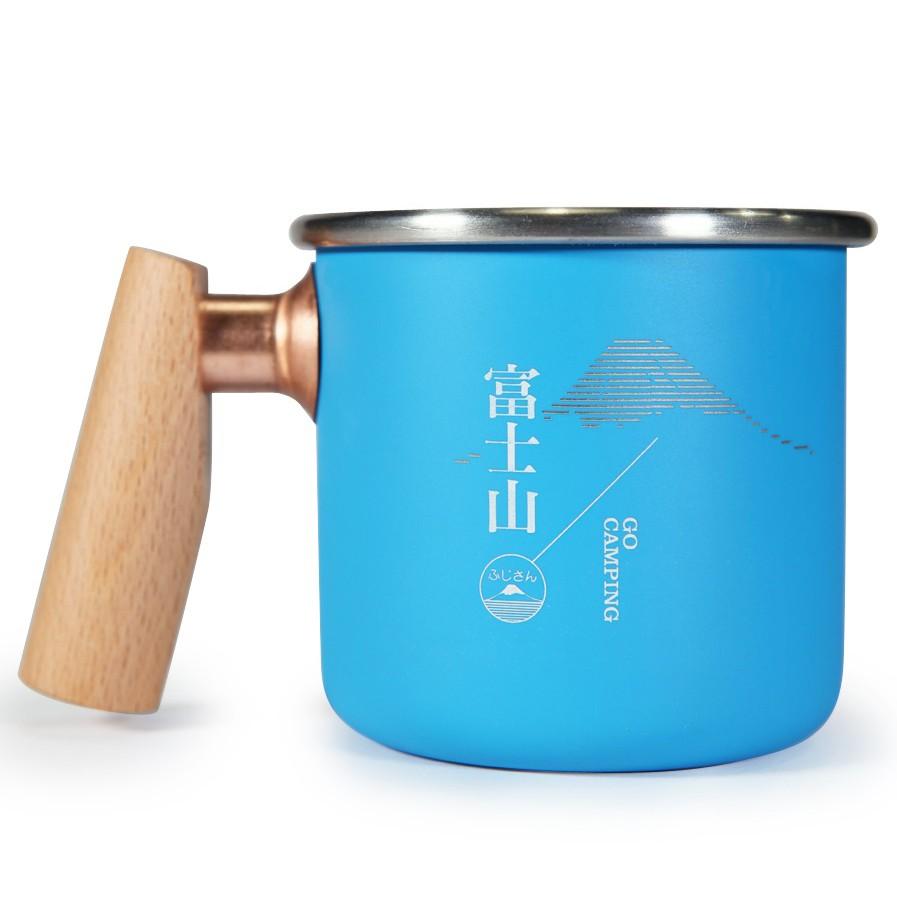 Truvii 木柄白鐵杯/戶外/露營杯 富士山 400ml 藍色