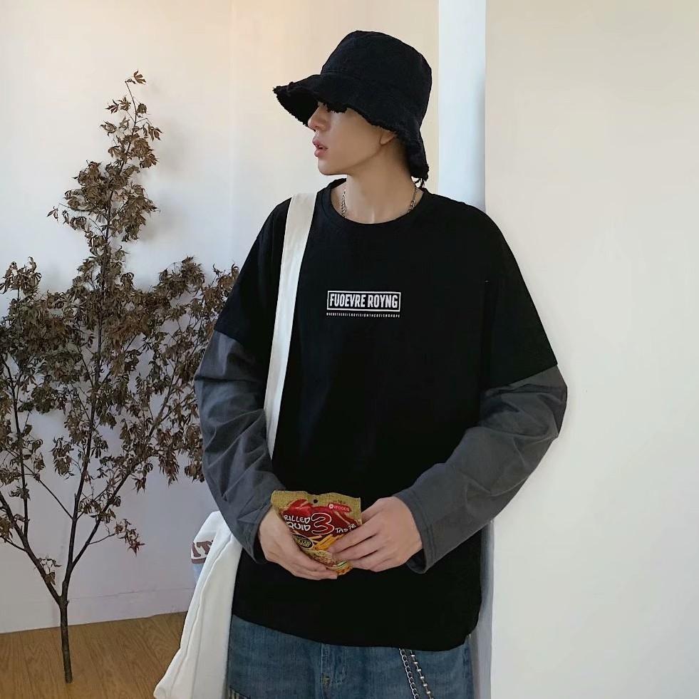 潮流多層次穿搭假兩件T恤  字母印花長袖 拼接T恤 男生長T恤韓版夏季衣服 T恤 男生著衣(RHA57)【壹號站】