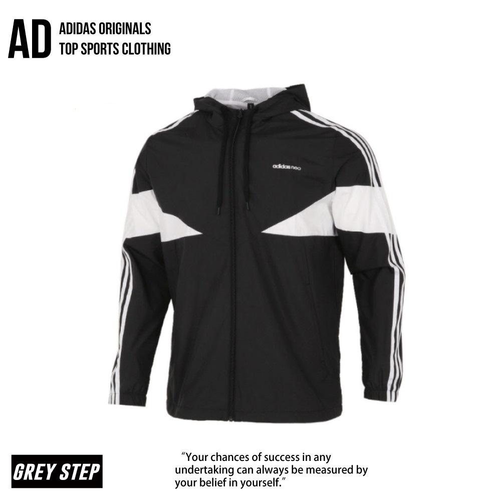 ADIDAS NEO 愛迪達 風衣外套 防風外套 拼接 黑色 白色  GP5709 全新正品 統一發票