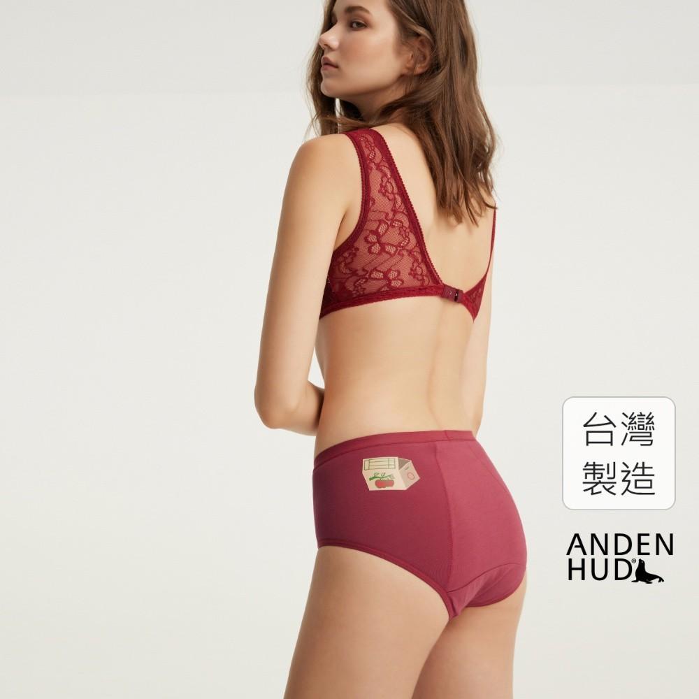 【Anden Hud】花好月圓.高腰生理褲(朱紅-水果箱) 台灣製