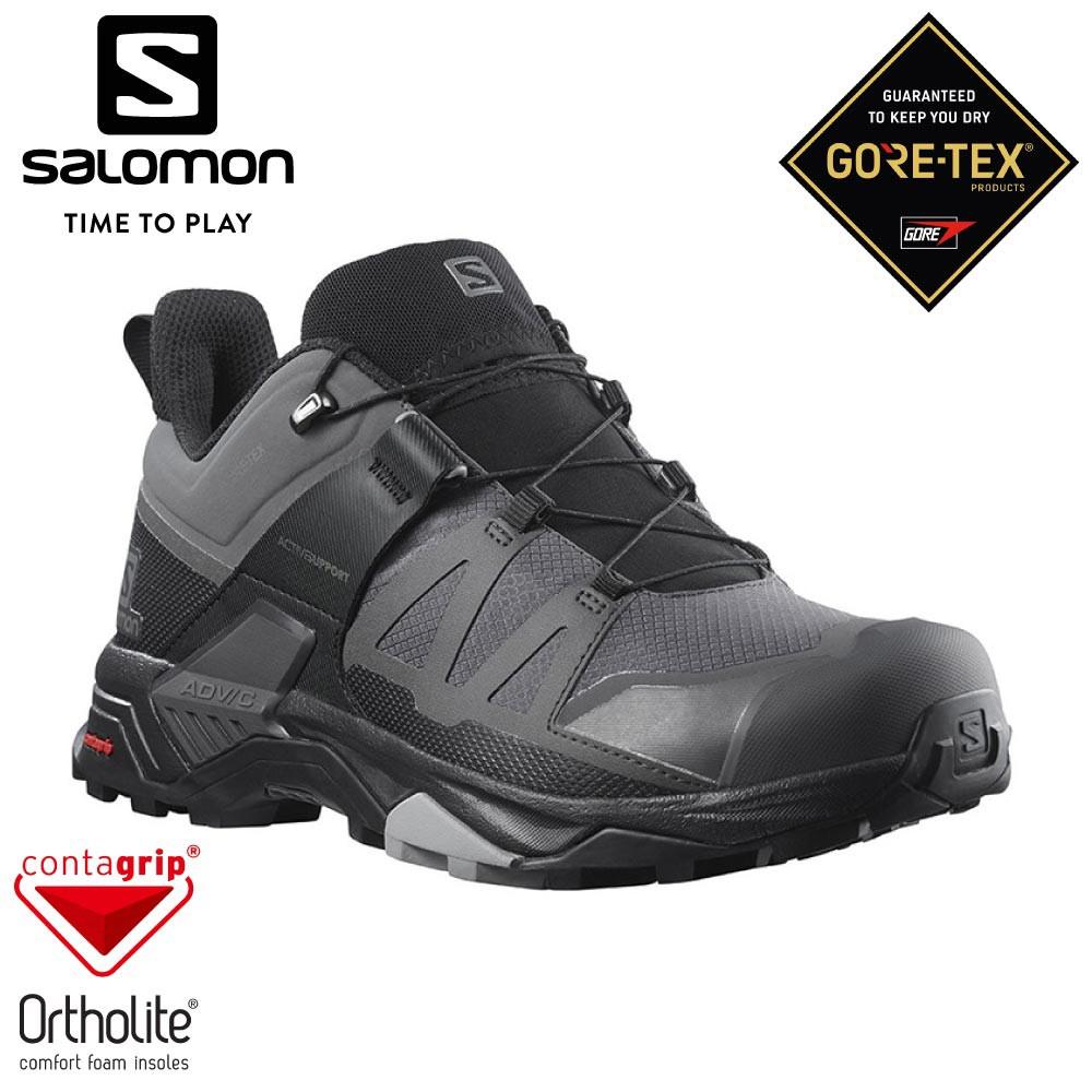 【SALOMON 法國 男 X ULTRA 4 GTX 低筒登山鞋《灰/黑/石碑灰》】412870/越野鞋/健/悠遊山水