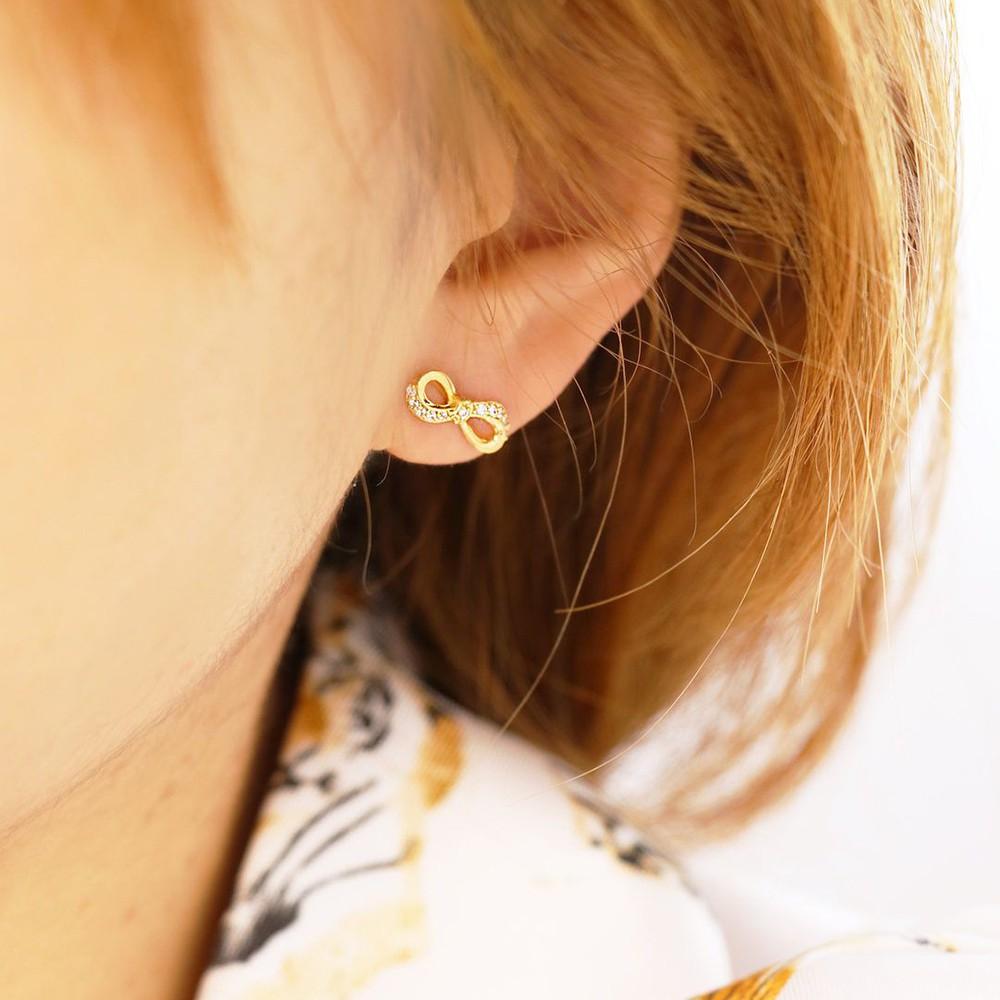 【CAZADORA】永恆印記水鑽耳釘 蝴蝶結 無限8 金貼耳小耳環 抗過敏 飾品