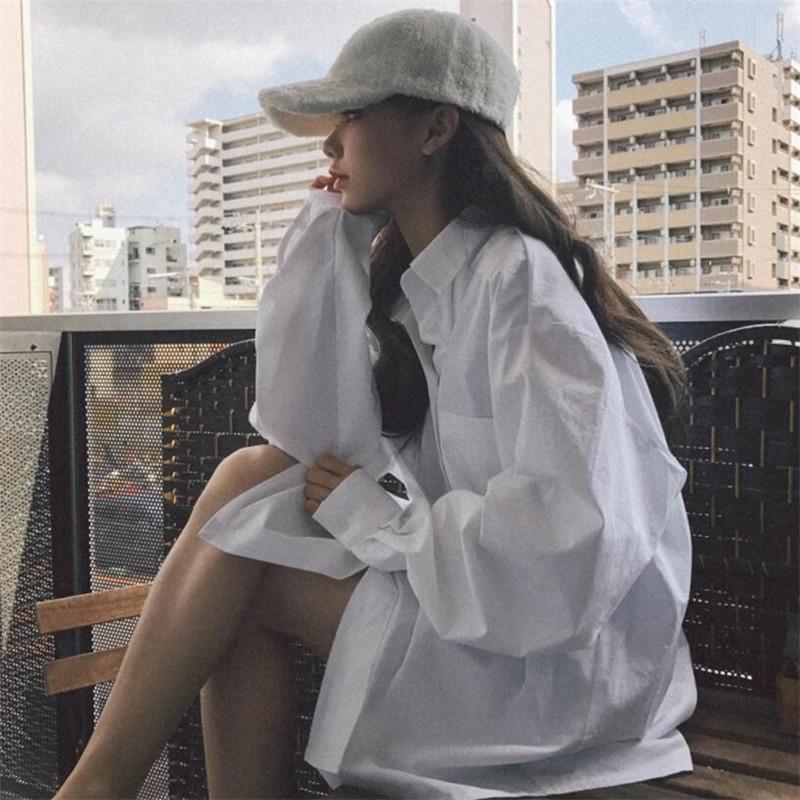 【免運】chic早春白色長袖襯衫慵懶風寬鬆休閒純色襯衣中長款BF風顯瘦上衣