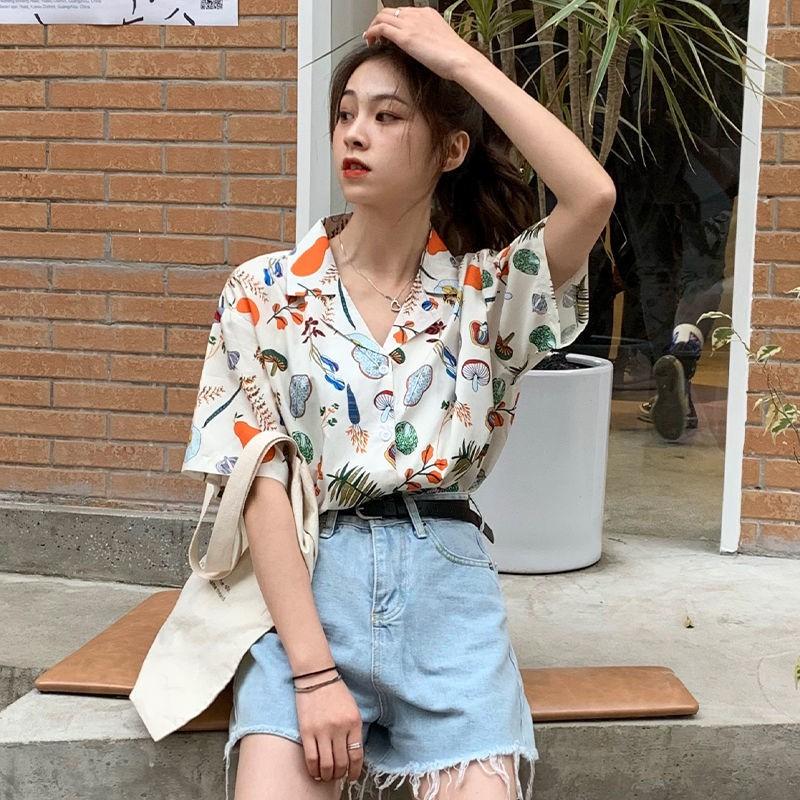 碎花襯衫 碎花上衣 短袖襯衫 法式上衣 夏季泫雅風野餐印花襯衫女顯瘦日系復古短袖襯衣學生寬松上衣